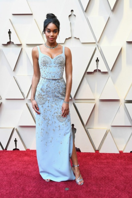Laura-Harrier-on-the-red-carpet-at-the-2019-Oscars-Showccasion-683x1024